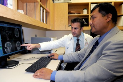 Dr. Rashtian reviewing Cyberknife Radiation Treatment Plan